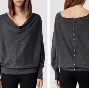 All Saints Elgar cowl neck charcoal gray